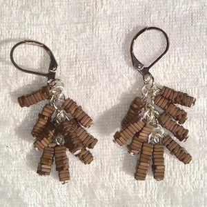 Jewelry - Brown hematite bead fringe dangle earrings cowgirl